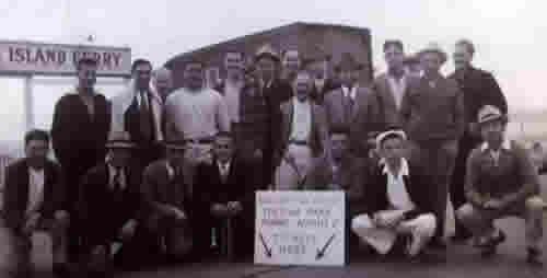 Photo of Italian Club picnic crew, 1940.