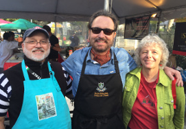 Volunteers Joel and Dale Patience with chef Nick Stellino