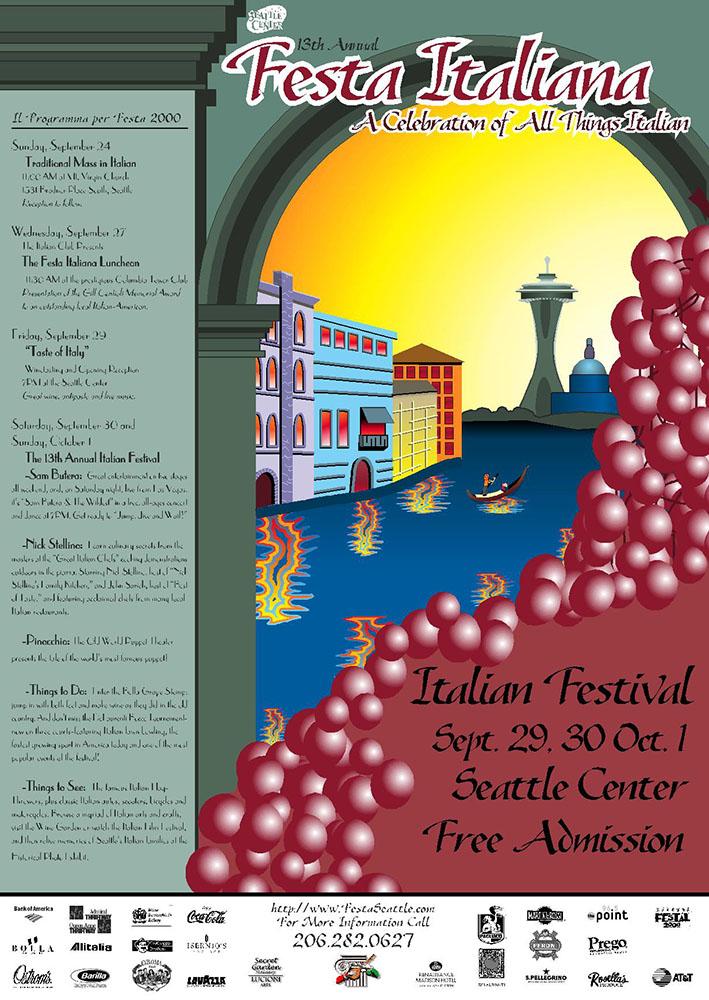 Poster design, Festa Italiana Seattle 2000